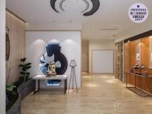爱士居装饰原创作品分享   滨湖万科CBD-220平-新中式风格