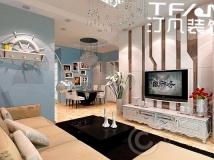 【汀凡装饰作品】水丽坊自在城80平米 2居室现代风格案例